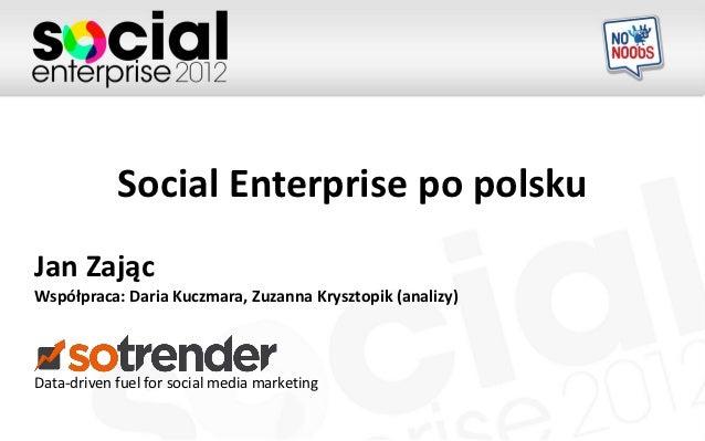 Social Enterprise po polskuJan ZającWspółpraca: Daria Kuczmara, Zuzanna Krysztopik (analizy)Data-driven fuel for social me...