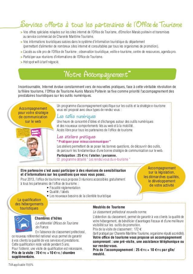 Guide partenariat 2013 office de tourisme aunis marais poitevin - Office du tourisme les saisies ...