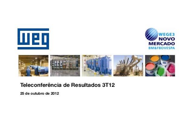 Teleconferência d RT l    f ê i de Resultados 3T12                    lt d25 de outubro de 2012