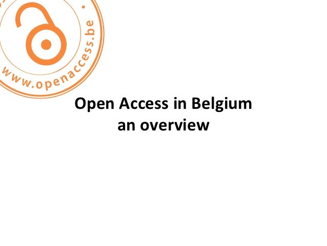 Open Access in Belgium     an overview