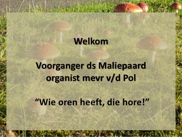 "WelkomVoorganger ds Maliepaard  organist mevr v/d Pol""Wie oren heeft, die hore!"""