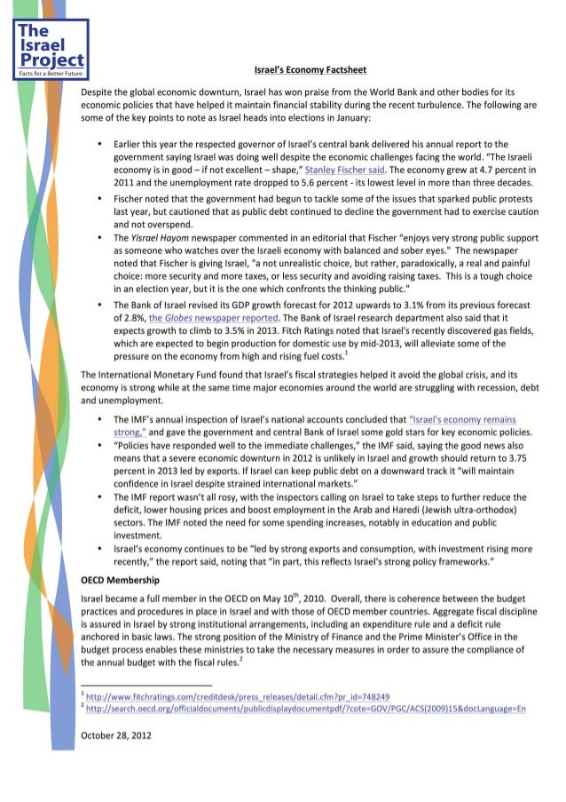 Israel's Economy Factsheet