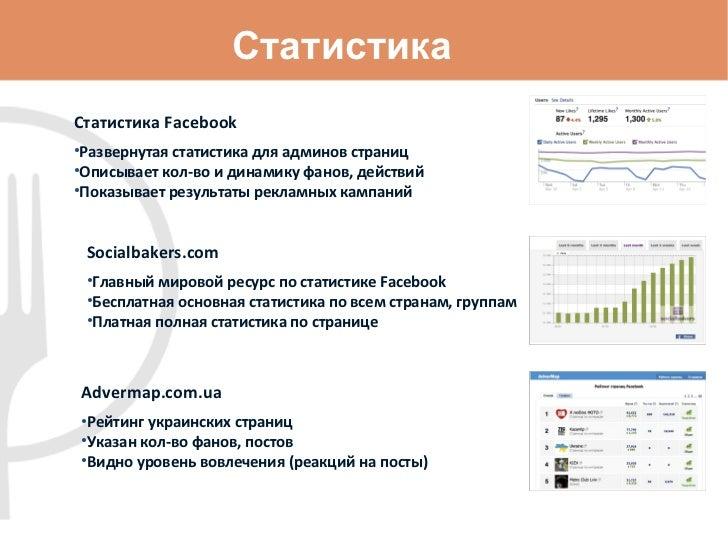 Статистика <ul><li>Статистика  Facebook </li></ul><ul><li>Развернутая статистика   для админов страниц </li></ul><ul><li>О...