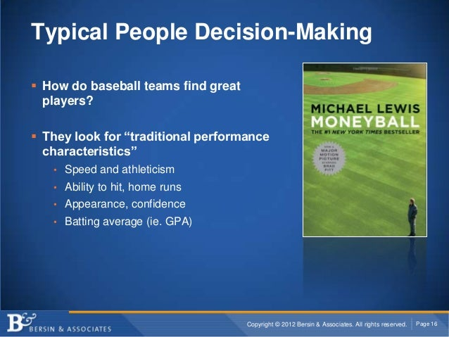 """Typical People Decision-Making How do baseball teams find great  players? They look for """"traditional performance  charac..."""