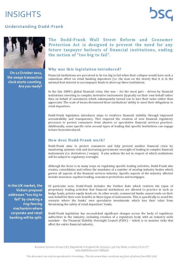 INSIGHTSUnderstanding Dodd-Frank                                The Dodd-Frank Wall Street Reform and Consumer            ...