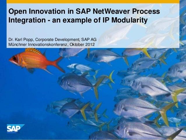 Open Innovation in SAP NetWeaver ProcessIntegration - an example of IP ModularityDr. Karl Popp, Corporate Development, SAP...