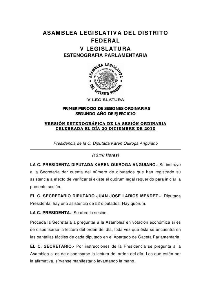 ASAMBLEA LEGISLATIVA DEL DISTRITO                   FEDERAL                V LEGISLATURA                   ESTENOGRAFIA PA...
