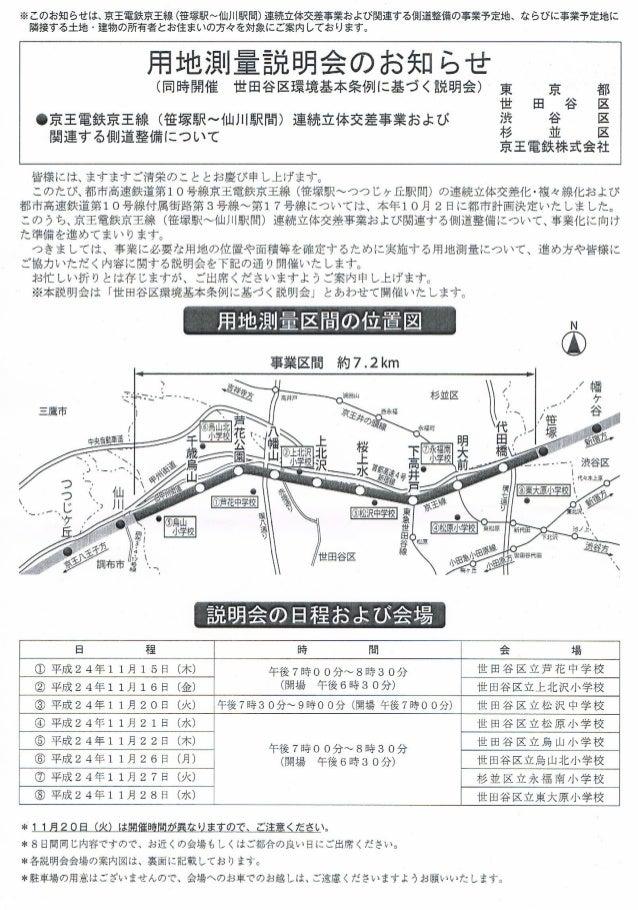 京王線高架化:用地測量説明会お知らせ