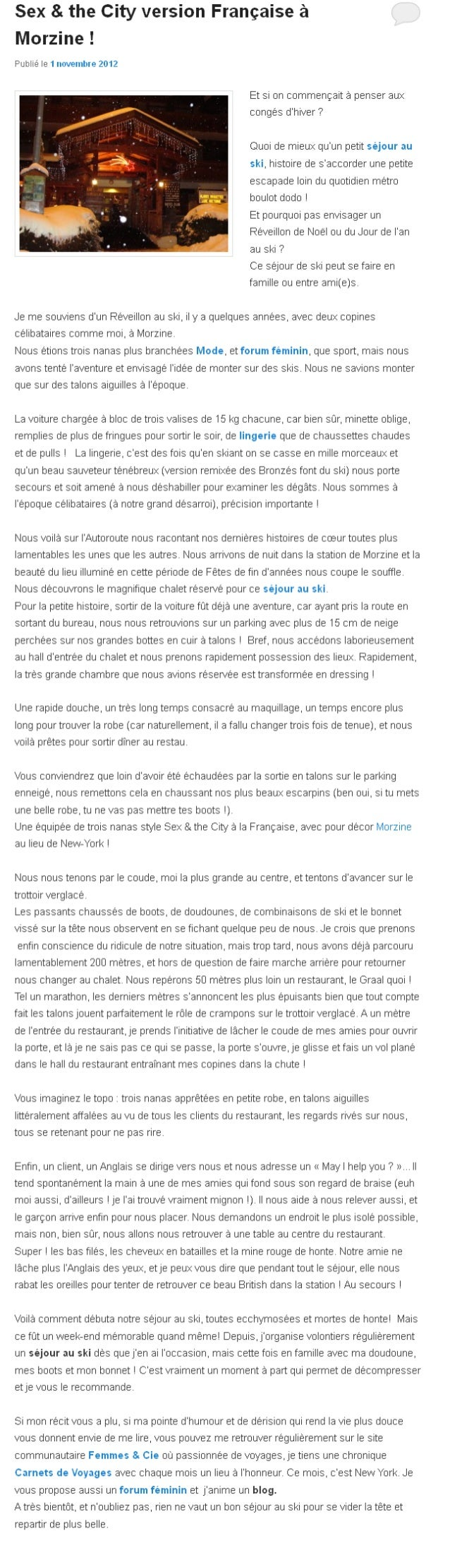 Sex & the City version Française à Morzine !