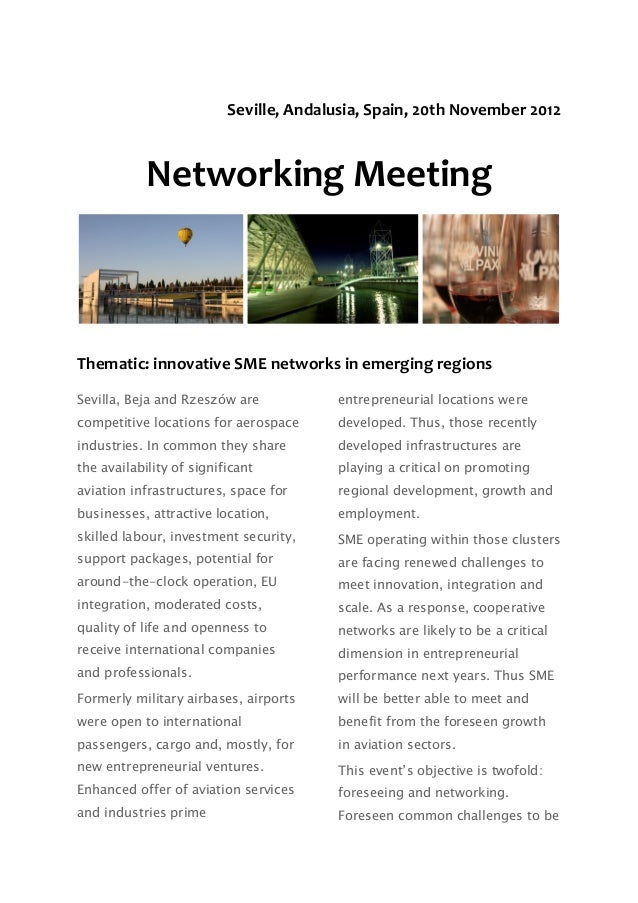 Thematic: innovative SME networks in emerging regions
