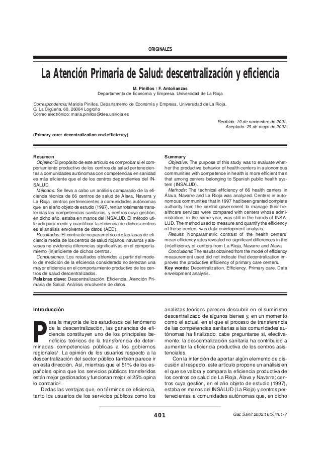 ORIGINALES    La Atención Primaria de Salud: descentralización y eficiencia                                               ...