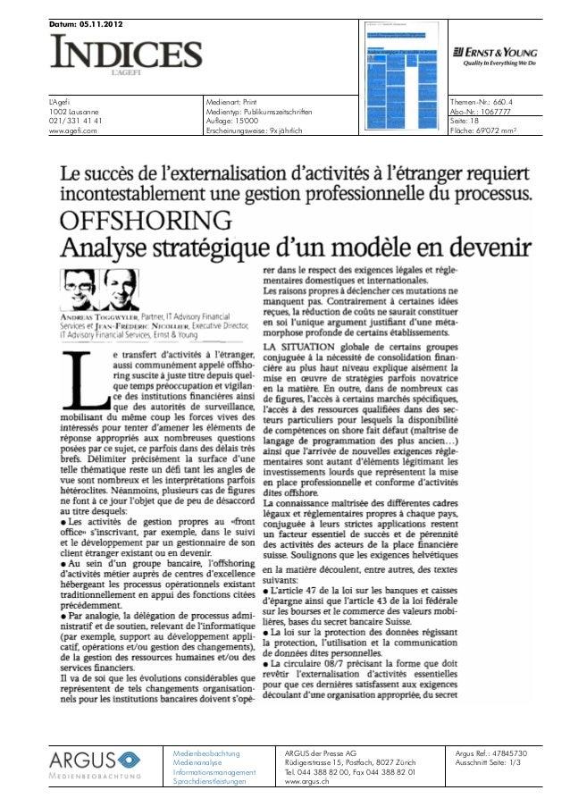 Datum: 05.11.2012 L'Agefi 1002 Lausanne 021/ 331 41 41 www.agefi.com Medienart: Print Themen-Nr.: 660.4 Abo-Nr.: 1067777Me...