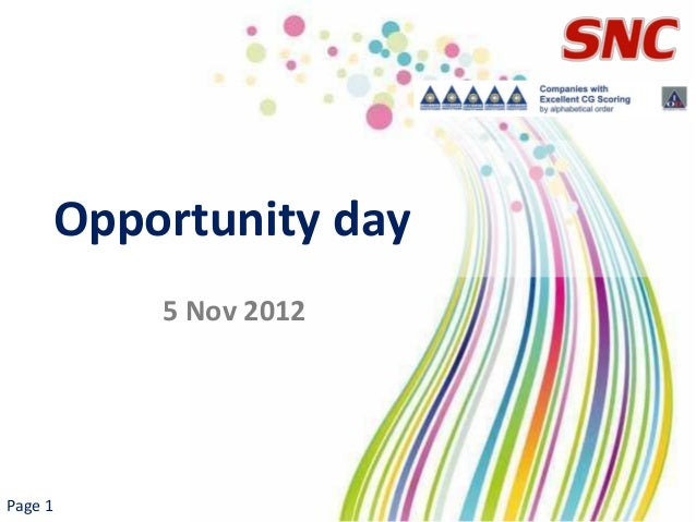Opportunity day         5 Nov 2012Page 1