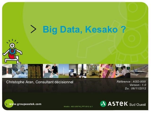Big Data, Kesako ?Christophe Aran, Consultant décisionnel                              Référence : ASO-XXX                ...