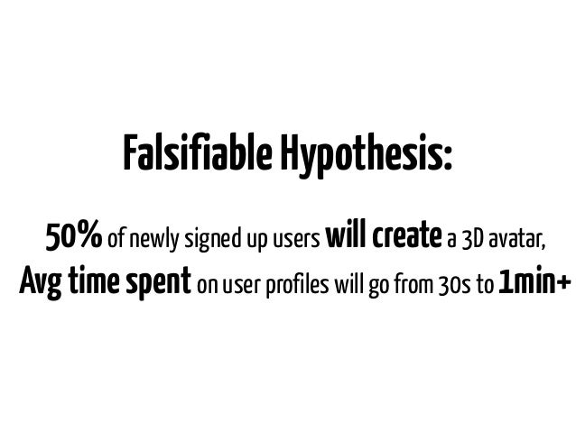 Falsifiable Hypothesis:  50% of newly signed up users will create a 3D avatar,Avg time spent on user profiles will go from...