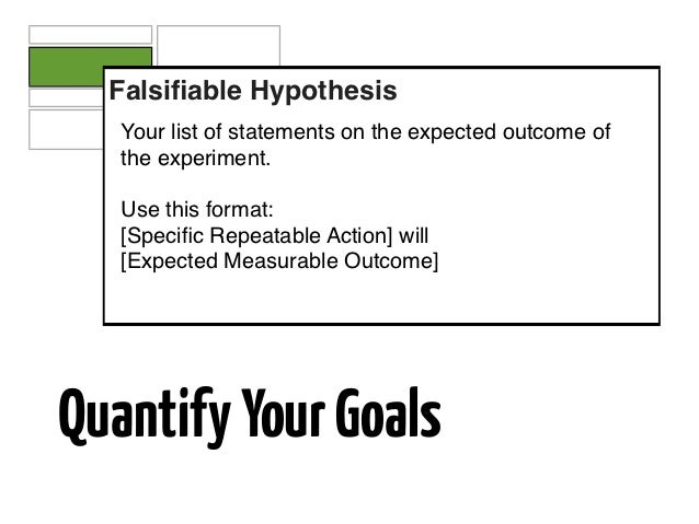 Falsifiable Hypothesis   Your list of statements on the expected outcome of   the experiment.   Use this format:   [Specific...