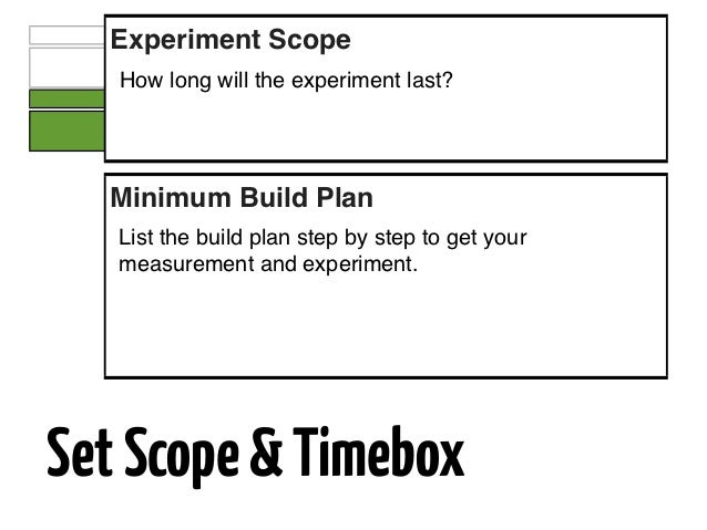 Experiment Scope   How long will the experiment last?  Minimum Build Plan   List the build plan step by step to get your  ...