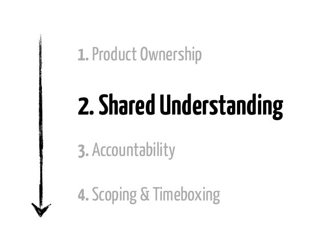 1. Product Ownership2. Shared Understanding3. Accountability4. Scoping & Timeboxing