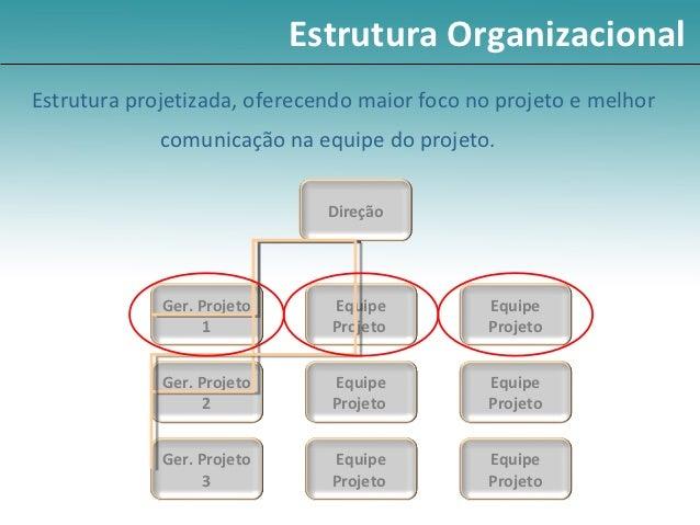Estrutura OrganizacionalEstrutura projetizada, oferecendo maior foco no projeto e melhor             comunicação na equipe...