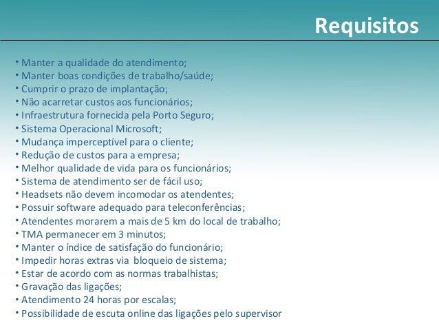 Requisitos• Manter a qualidade do atendimento;• Manter boas condições de trabalho/saúde;• Cumprir o prazo de implantação;•...
