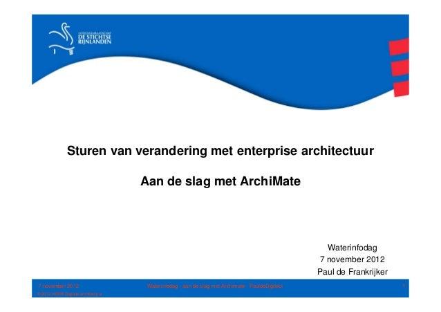 Sturen van verandering met enterprise architectuur                                    Aan de slag met ArchiMate           ...