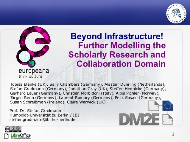 Beyond Infrastructure!                                Further Modelling the                              Scholarly Researc...