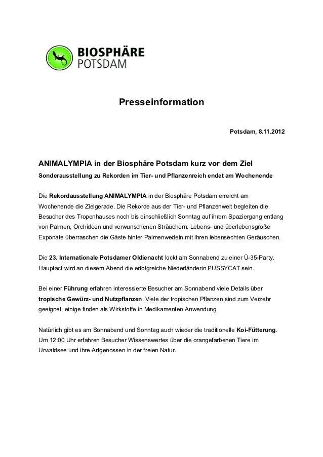 Presseinformation                                                                     Potsdam, 8.11.2012ANIMALYMPIA in der...