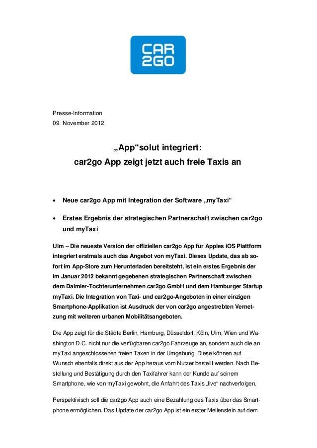 """Presse-Information09. November 2012                       """"App""""solut integriert:        car2go App zeigt jetzt auch freie ..."""