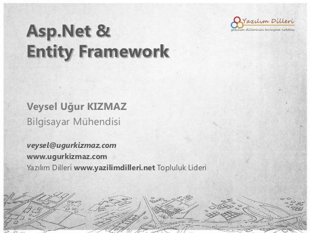Asp.Net &Entity FrameworkVeysel Uğur KIZMAZBilgisayar Mühendisiveysel@ugurkizmaz.comwww.ugurkizmaz.comYazılım Dilleri www....