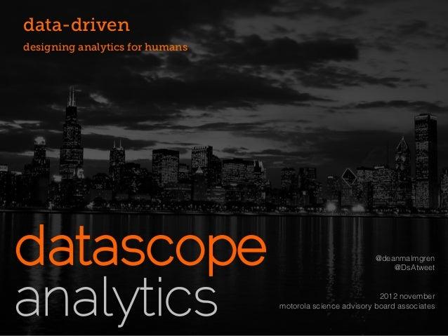 data-drivendesigning analytics for humans                                                          @deanmalmgren          ...