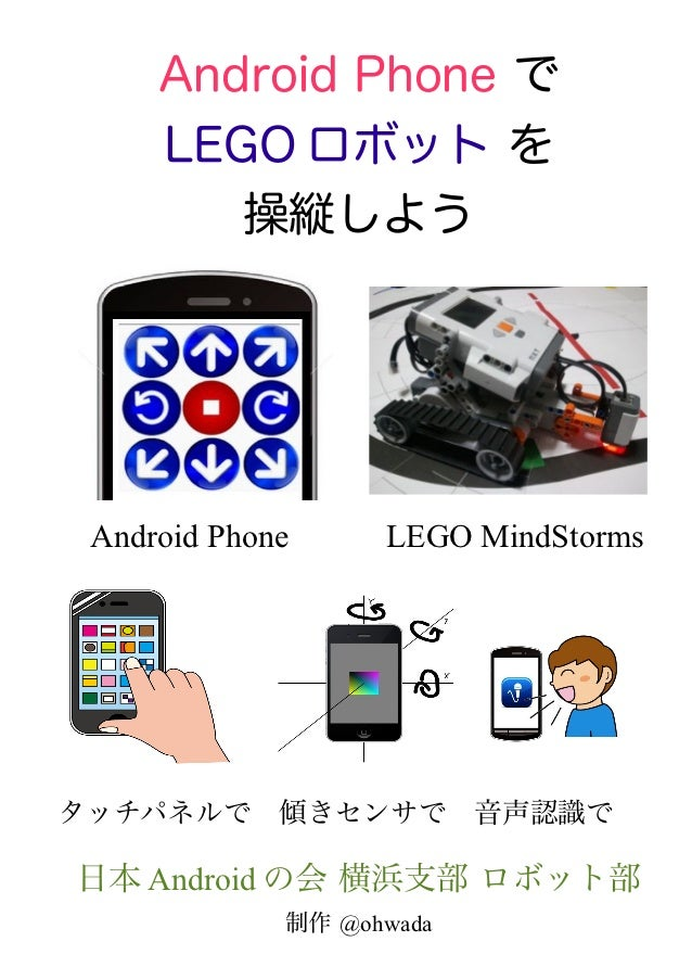 Android Phone で     LEGO ロボット を        操縦しよう                                   Android Phone   LEGO MindStormsタッチパネルで 傾きセン...