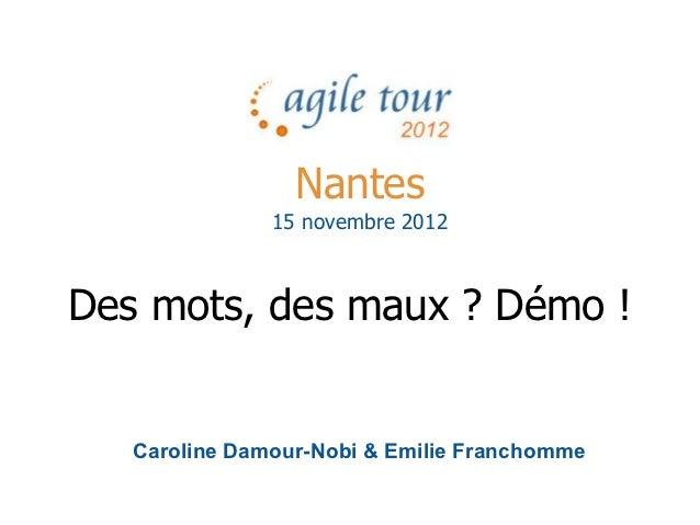 Nantes               15 novembre 2012Des mots, des maux ? Démo !   Caroline Damour-Nobi & Emilie Franchomme