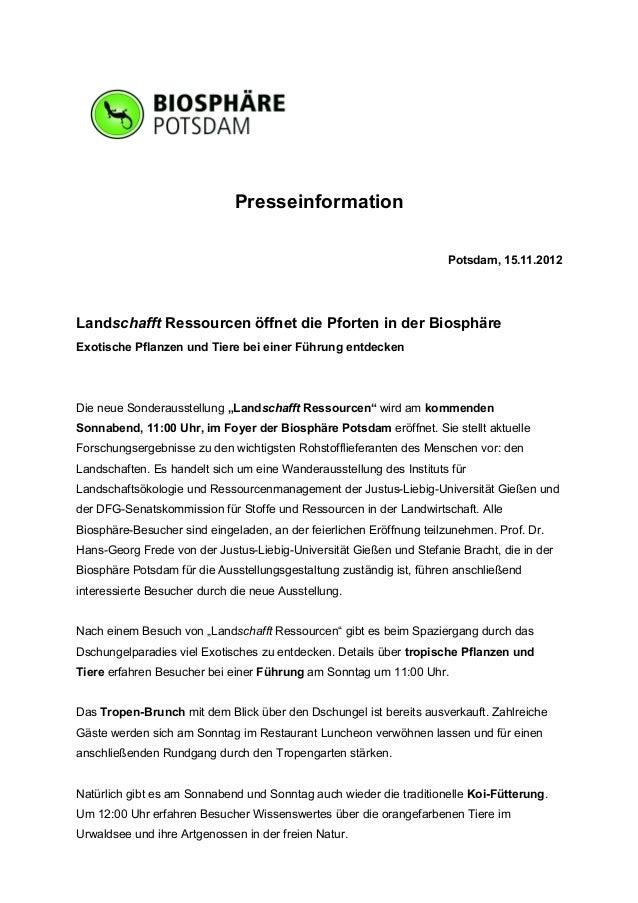 Presseinformation                                                                     Potsdam, 15.11.2012Landschafft Resso...