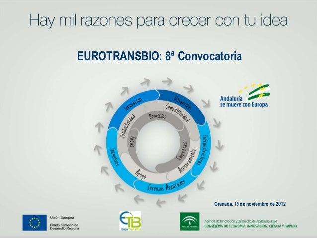 EUROTRANSBIO: 8ª Convocatoria                        Granada, 19 de noviembre de 2012