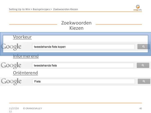 Setting Up to Win > Basisprincipes > Zoekwoorden Kiezen                                         Zoekwoorden               ...