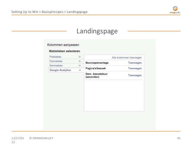 Setting Up to Win > Basisprincipes > Landingspage                                         Landingspage11/27/20   © ORANGEV...