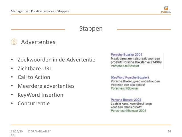 Managen van Kwaliteitsscores > Stappen                                         Stappen⑥ Advertenties•   Zoekwoorden in de ...