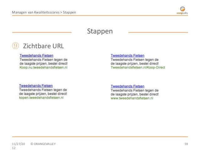 Managen van Kwaliteitsscores > Stappen                                         Stappen⑨ Zichtbare URL11/27/20   © ORANGEVA...