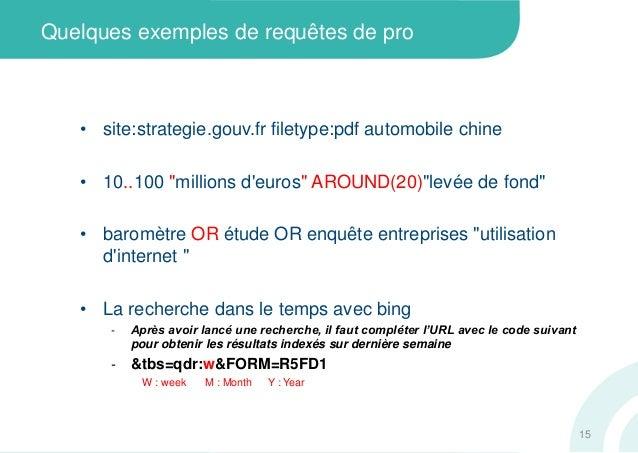 """Quelques exemples de requêtes de pro• site:strategie.gouv.fr filetype:pdf automobile chine• 10..100 """"millions deuros"""" AROU..."""
