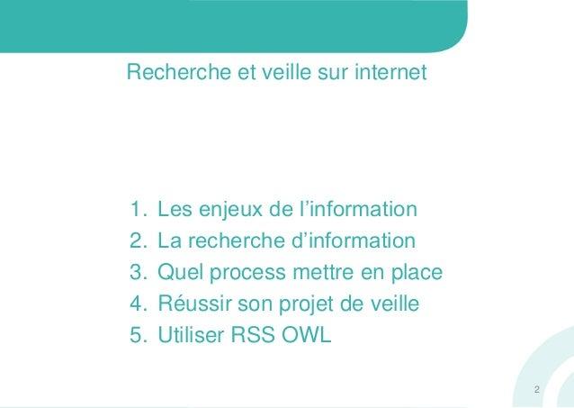 Recherche et veille sur internet1. Les enjeux de l'information2. La recherche d'information3. Quel process mettre en place...