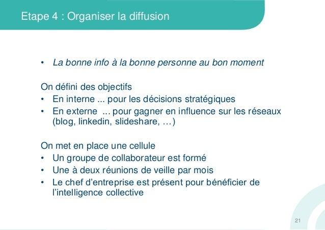 Etape 4 : Organiser la diffusion• La bonne info à la bonne personne au bon momentOn défini des objectifs• En interne ... p...