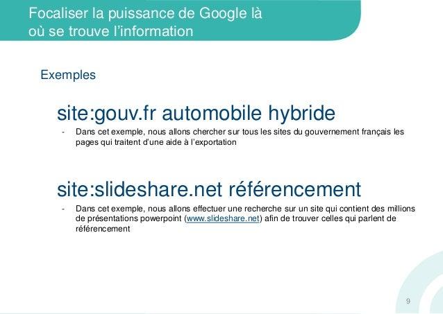 Focaliser la puissance de Google làoù se trouve l'informationExemplessite:gouv.fr automobile hybride‐ Dans cet exemple, no...