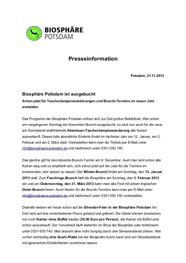 Presseinformation                                                                        Potsdam, 21.11.2012Biosphäre Pots...