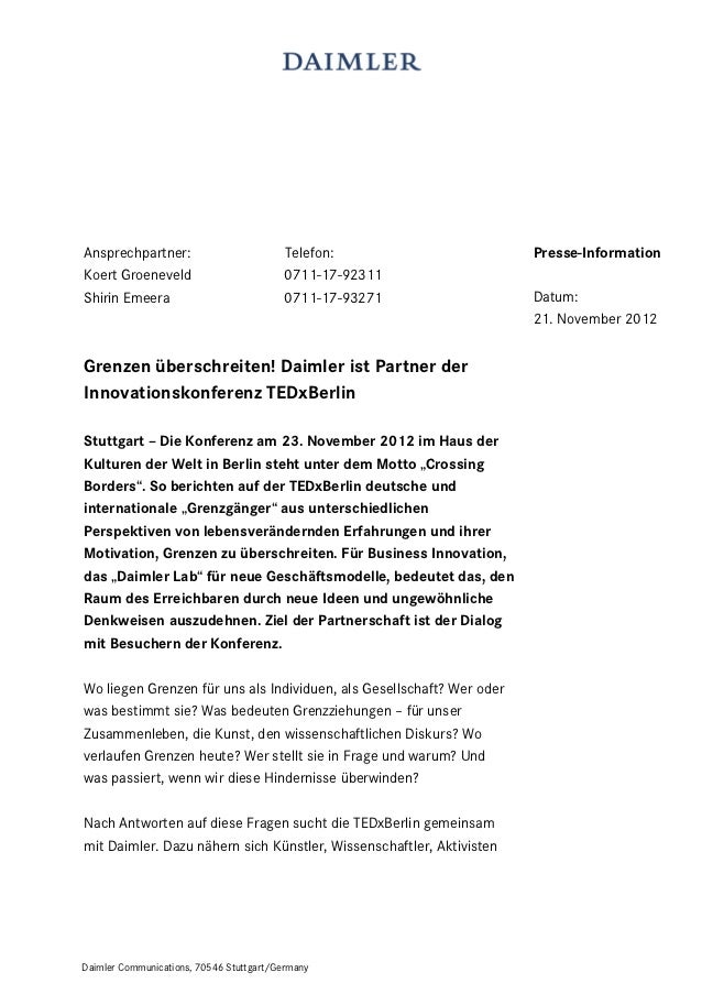 Ansprechpartner:                         Telefon:                      Presse-InformationKoert Groeneveld                 ...