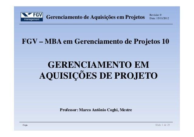 Gerenciamento de Aquisições em Projetos                                                      Revisão: 0                   ...