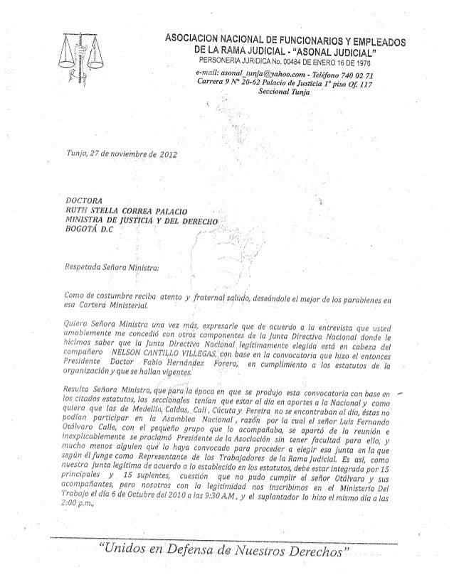 CARTA A LA DR RUTH STELLA CORREA PALACIO MINISTRA DE JUSTICIA Y DEL DERECHO
