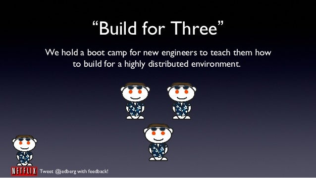 """""""Build for Three""""  We hold a boot camp for new engineers to teach them how        to build for a highly distributed enviro..."""
