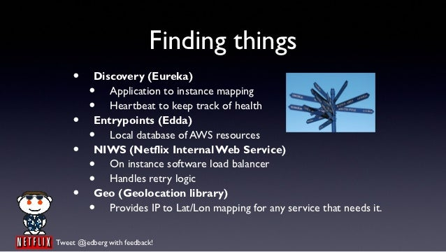 Finding things    •      Discovery (Eureka)         •    Application to instance mapping         •    Heartbeat to keep tr...