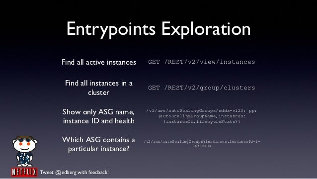 Entrypoints Exploration         Find all active instances    GET /REST/v2/view/instances          Find all instances in a ...