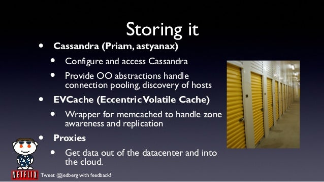Storing it•    Cassandra (Priam, astyanax)    •     Configure and access Cassandra    •     Provide OO abstractions handle...